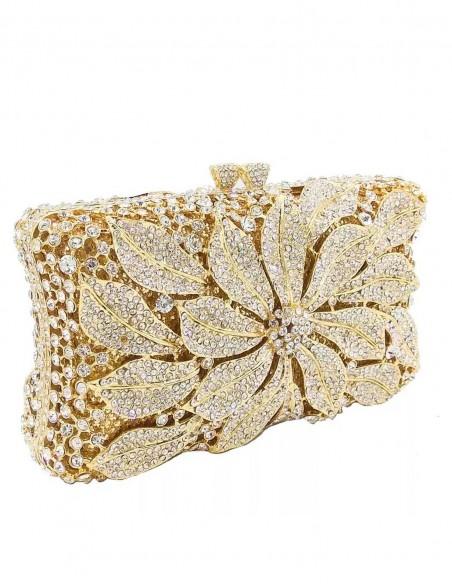 Jewelry handbag with central metal and glass flower - rectangular Lauren Lynn London Accessories - 1