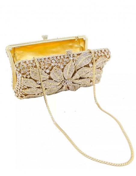 Jewelry handbag with central metal and glass flower - rectangular Lauren Lynn London Accessories - 2