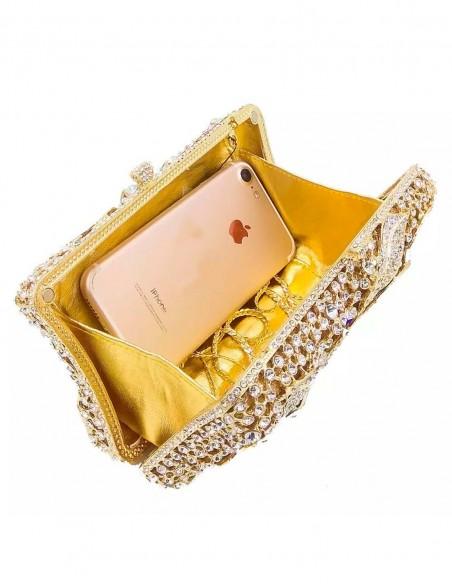 Jewelry handbag with central metal and glass flower - rectangular Lauren Lynn London Accessories - 3