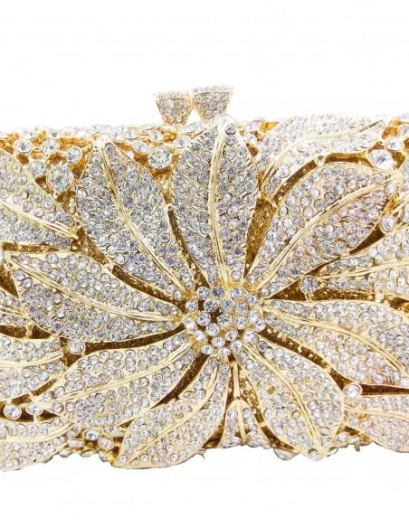 Jewelry handbag with central metal and glass flower - rectangular Lauren Lynn London Accessories - 4
