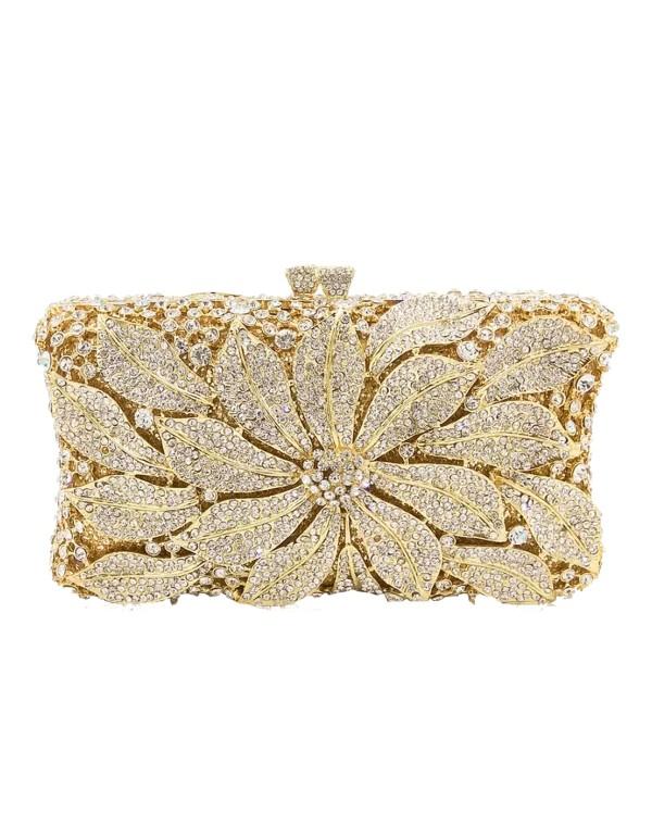 Bolso de mano joya con flor central de metal y cristal - rectangular