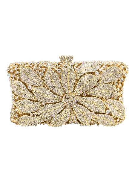 Jewelry handbag with central metal and glass flower - rectangular Lauren Lynn London Accessories - 5