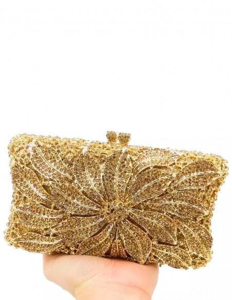 Jewelry handbag with central metal and glass flower - rectangular Lauren Lynn London Accessories - 6