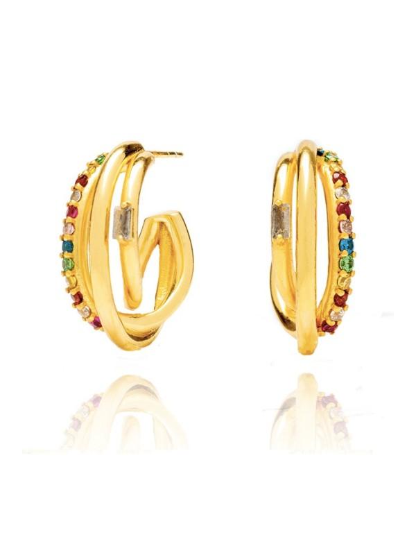 pendiente aro multicolor fiesta boda circonita dorado brillo accesorio complemento