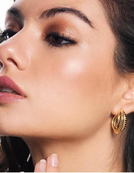 gold hoop diamond wedding party earrings guest complement black model