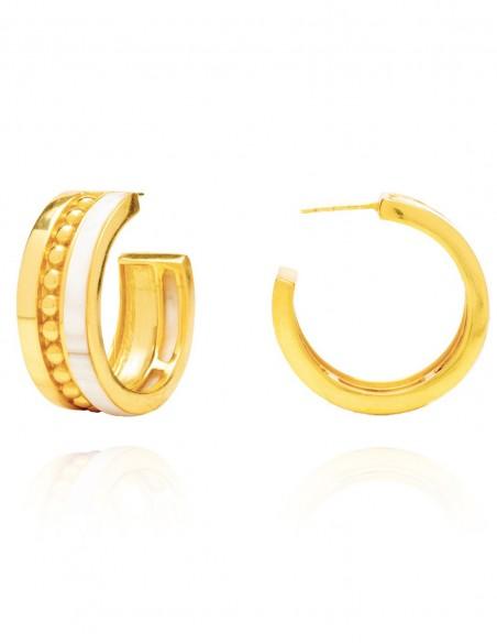 gold hoop nacar earrings wedding party guest
