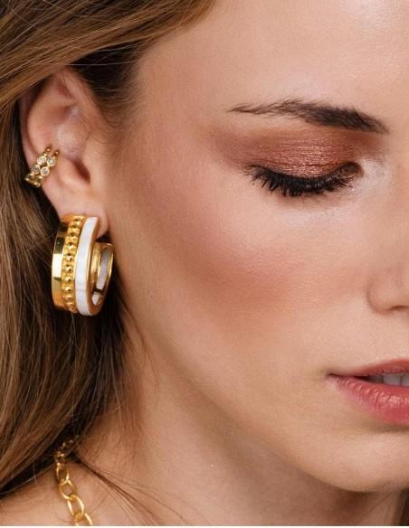 gold hoop nacar earrings wedding party guest detail
