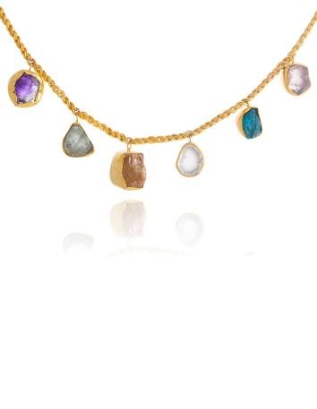 Collar corto con piedras brutas de colores de Lavani