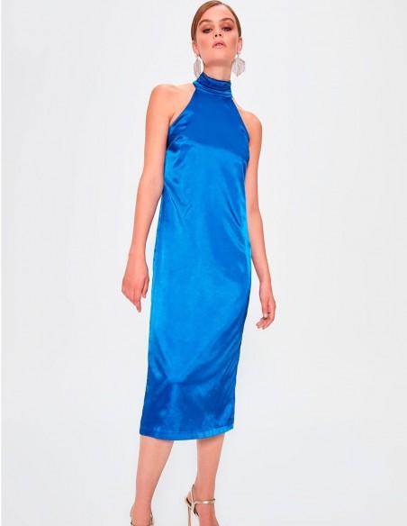 Satin Cocktail dress with halter neck blue