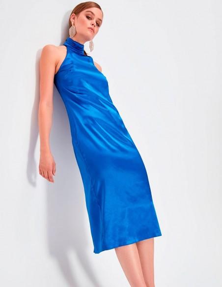 Satin Cocktail dress with halter neck