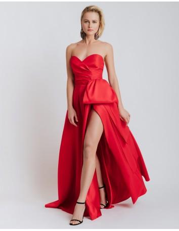 Long dress red heart neckline