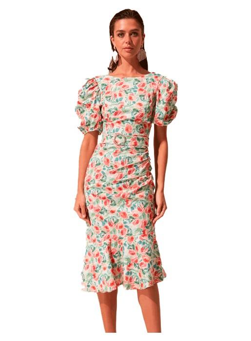 vestido de cóctel con mangas abullonadas y estanpado floral invitada boda de dia INVITADISIMA