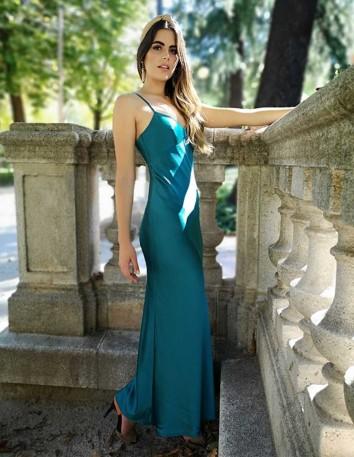 vestido fiesta largo lencero tirantes evento boda invitada modelo