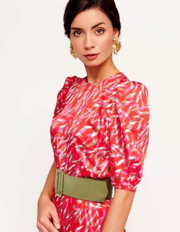 Midi dress printed with tulip-shaped lantern sleeves at INVITADISIMA