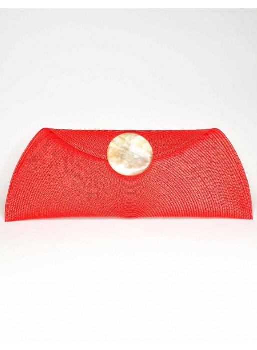 Cartera de rafia con broche redondo roja