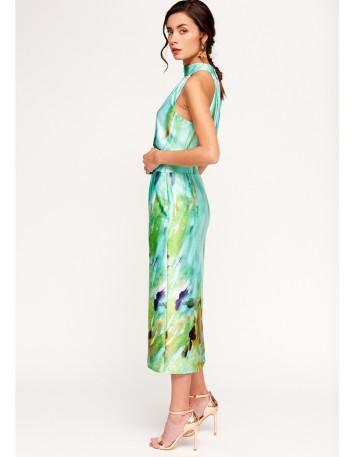 Set of top and satin print skirt for a wedding
