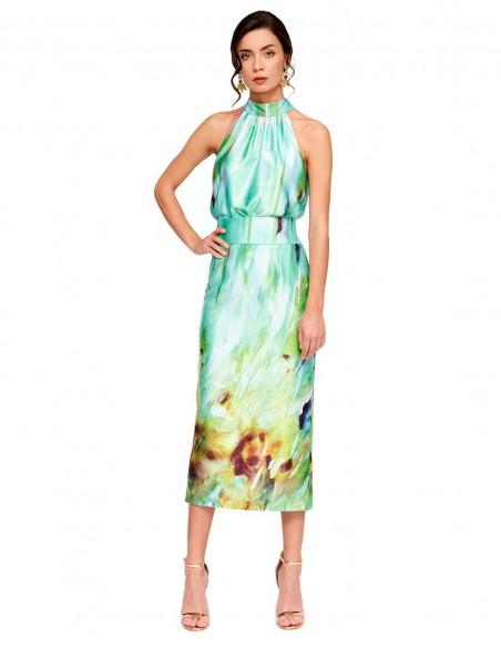 Set of top and satin print skirt at INVITADISIMA