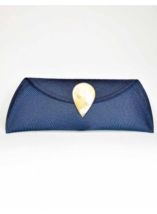 navy blue Raffia wallet with teardrop clasp