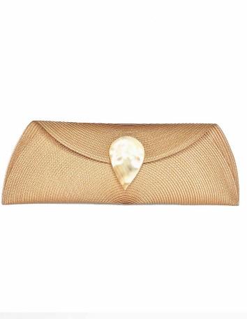 camel Raffia wallet with teardrop clasp