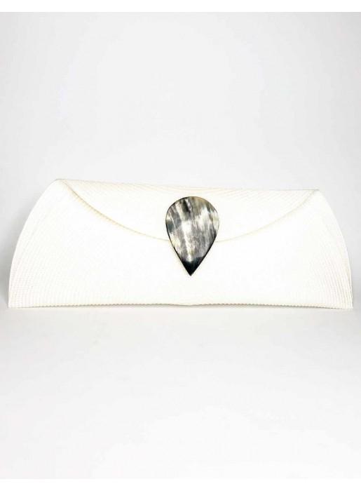 bone Raffia wallet with teardrop clasp