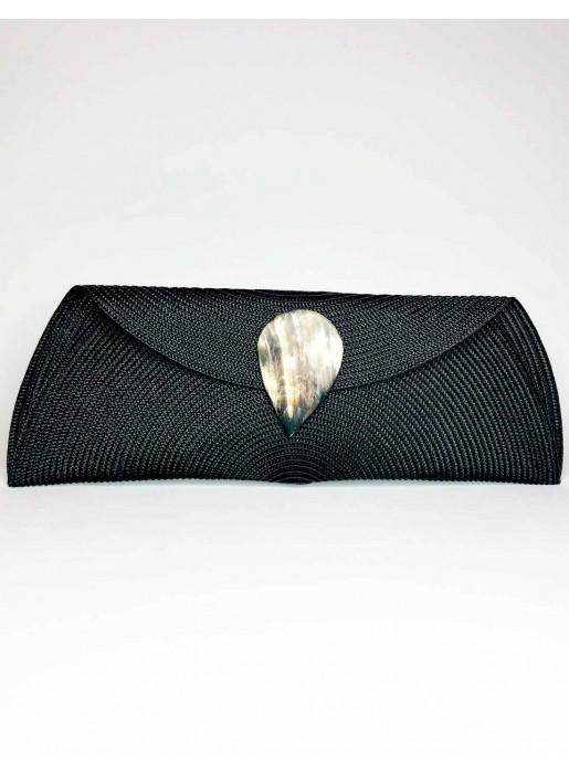black Raffia wallet with teardrop clasp