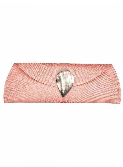 pink Raffia wallet with teardrop clasp