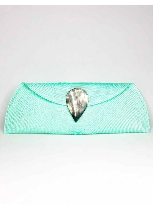 Raffia wallet with teardrop clasp