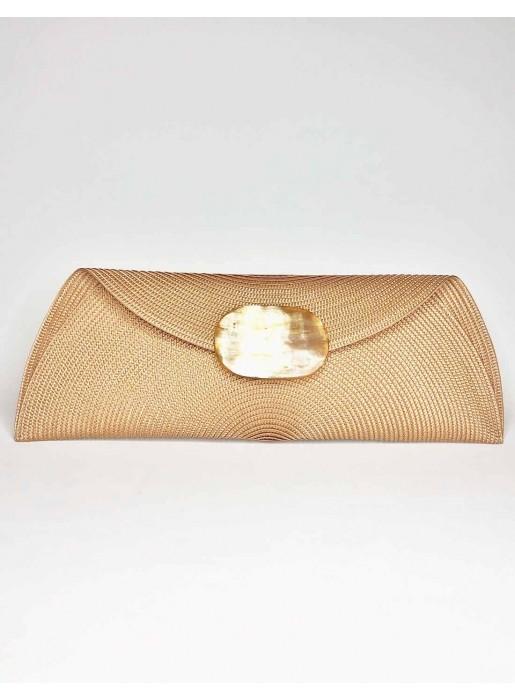 camel Raffia handbag with oval-shaped handle