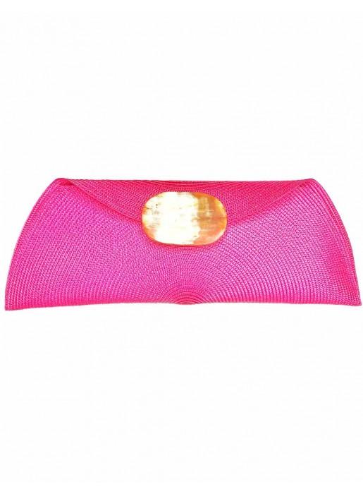 fuchsia Raffia handbag with oval-shaped handle