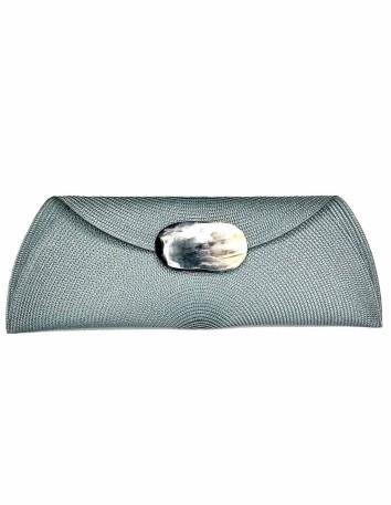 gray Raffia handbag with oval-shaped handle