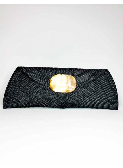 black Raffia handbag with oval-shaped handle