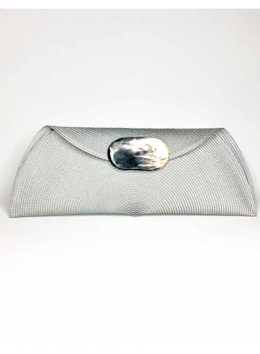silver Raffia handbag with oval-shaped handle
