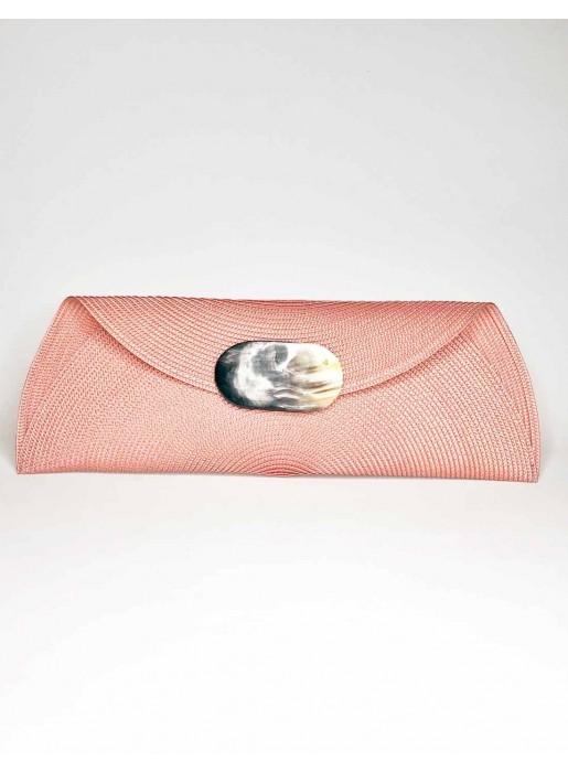 pink Raffia handbag with oval-shaped handle