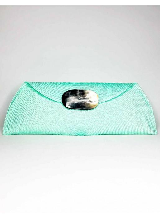 green Raffia handbag with oval-shaped handle