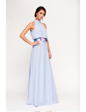 maxi plain party dress wedding guest model