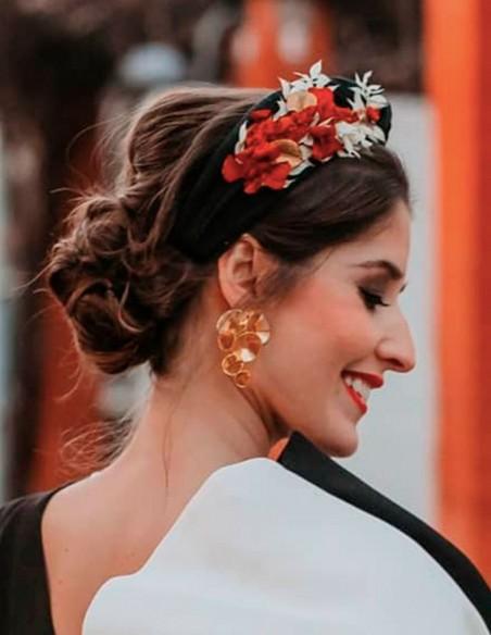 Black headband with orange preserved hydrangea - INVITADA PERFECTA Cala by Lilian - 2