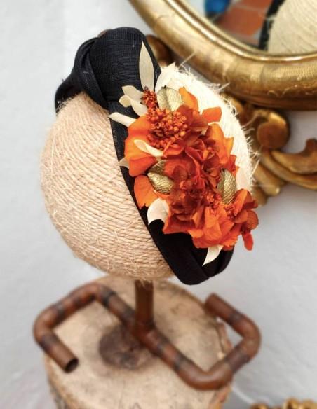 Black headband with orange preserved hydrangea - INVITADA PERFECTA Cala by Lilian - 5