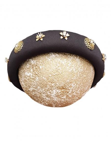 Black padded headband with gold jewelry  INVITADISIMA