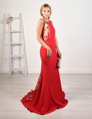 Vestido largo con corte sirena y godet de encaje rojo