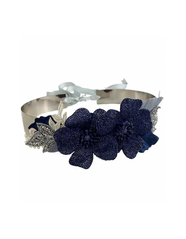 Cinturón azul marino con detalles florales y pedrería Airun Tocados - 1