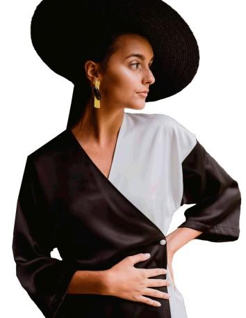 Vestido Kimono de fiesta bicolor blanco y negro