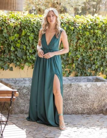 vestido fiesta largo verde maui invitada pierna abertura