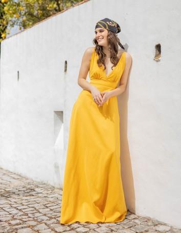 vestido fiesta largo boda amarillo tirantes escote maui invitada modelo