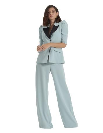 traje pantalon palazzo blazer chaqueta manga abullonada fiesta modelo solapas azul