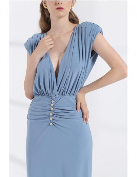 Maxi wedding party dress neckline detail model