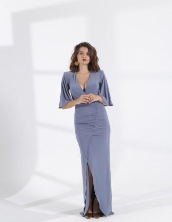 maxi wedding party dress v neckline cape sleeves model