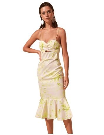 Vestido de cóctel de tirantes y estampado floral