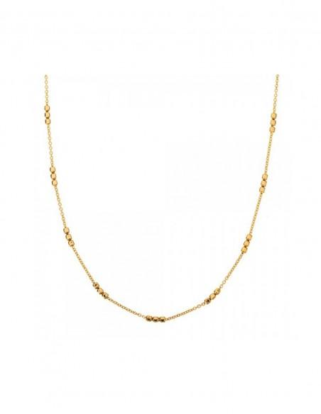 Gold necklace with cube design interspersed at INVITADISIMA