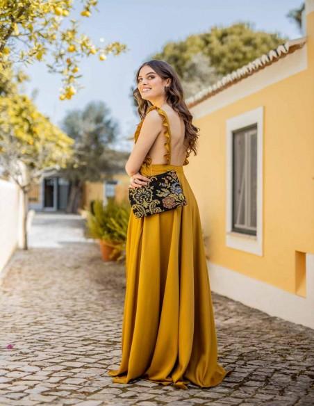 long party dress ruffles wedding guest model