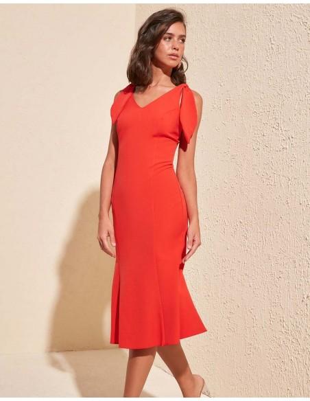 cocktail dress with bow detail weddin guest orange